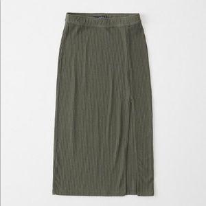 Abercrombie knit ribbed midi skirt high slit